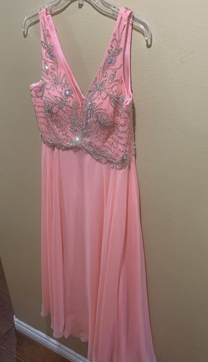 Brides maid (petite) size 12 coral v-jneck with hand decorated crystal gems and beads for Sale in Los Angeles, CA