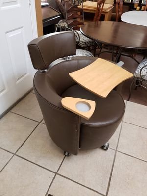 Leather guest Chair , with table arm for Sale in Modesto, CA