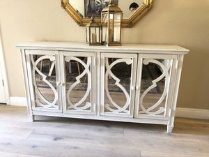 Beautiful Solid 4-Door Glass Credenza, Dresser, Tv-Stand, Entry Table, 68in for Sale in Glendale, AZ