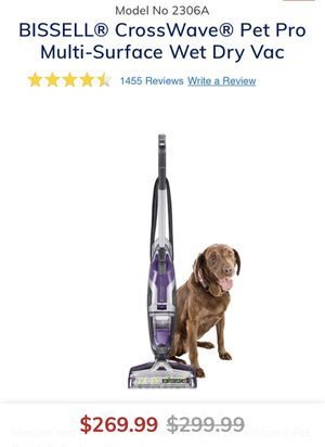 Bissell 2306 CrossWave Pet Pro Wet-Dry Vacuum Cleaner - Purple for Sale in Garnet Valley, PA