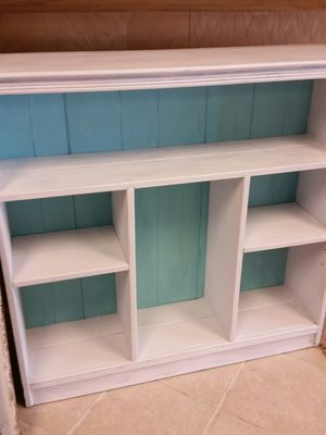 Beachy blue & white bookcase for Sale in Maineville, OH
