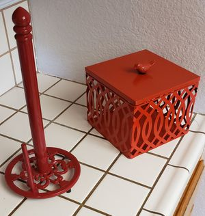 Kitchen Decor- HOBBY LOBBY- Paper Towel holder & Storage Container for Sale in Apple Valley, CA