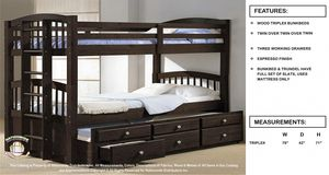 Triple bunk bed with storage drawers for Sale in Elgin, IL