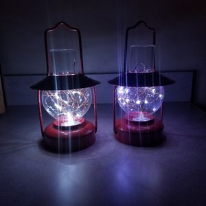Antique Red Candle Holder Glass Lanterns/with battery powered LED lights for Sale in Ruckersville, VA