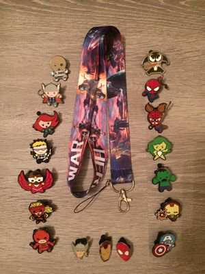 Captain America lanyard and 17 tradable Marvel pins for Sale in Orlando, FL