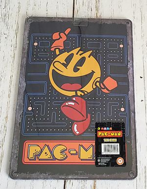 Pac-Man Tin Sign - Jumping Pac Man on Gameboard 8 x 12 Arcade Gamer Decor NEW for Sale in Harrisonburg, VA