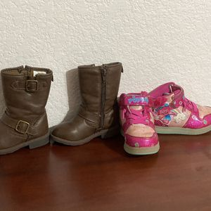 Girl Toddler Trolls Sneakers 6/7 And Carter Boots Size 6 for Sale in Arlington, TX