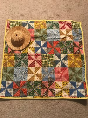 Quilt and Straw Hat for American Girl Dolls for Sale in Davenport, FL
