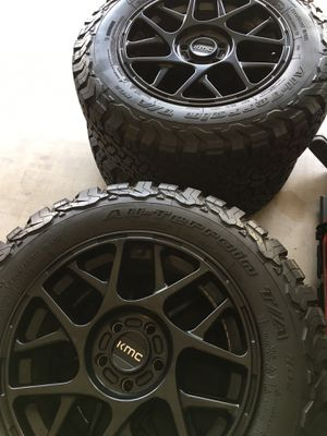 4 tires BF Goodrich A/T LT245/65R17 & KMC Rims 5 Lug for Sale in Harker Heights, TX