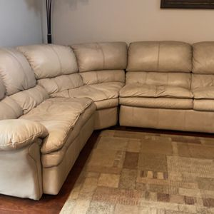 Genuine Leather Cream / Beige 3 Piece Sectional With Sleeper & 2 Reclining Chairs for Sale in Happy Valley, OR