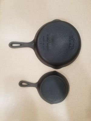 #6 Wagner ware and #3 no notch Loge cast iron skillet for Sale in Litchfield Park, AZ