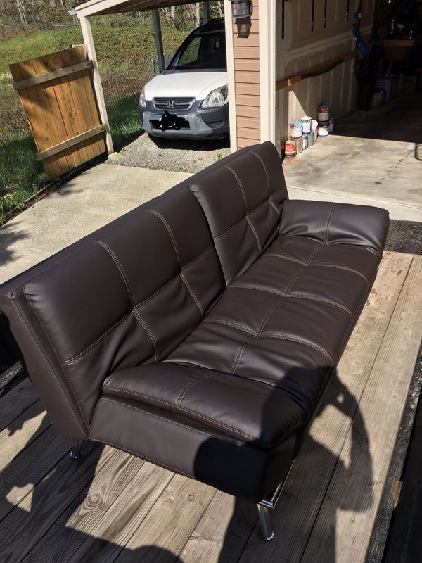 Leather futon powered couch