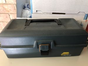 Plane tackle box with tray, two fishing lures, two hollow frog and weight and towel for Sale in Lafayette, LA
