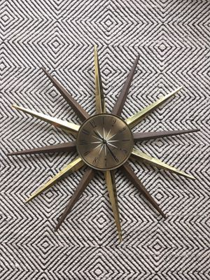 Vintage Seth Thomas Starburst Wall Clock Gold and Wood for Sale in Washington, DC