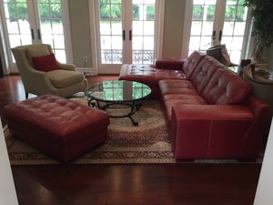 Couch and Ottoman - Italian Leather for Sale in NJ, US