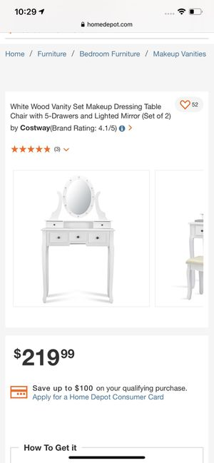 White Wood Vanity Set Makeup Dressing Table Chair with 5-Drawers and Lighted Mirror for Sale in Corona, CA