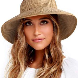 Brand Furtalk un Visor Hats for Women Wide Brim Straw Roll Up Ponytail Summer Beach Hat UV UPF for Sale in Houston, TX
