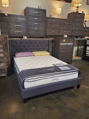 Queen Fabric Tufted Bed Frame, Blue Grey for Sale in Tustin, CA