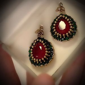 RUBY EMERALD FINE ART EARRINGS Solid 925 Sterling Silver/Gold WOW! Brilliant Facet Pear/Round Cut Gemstones, Diamond Topaz M7592 VS for Sale in San Diego, CA