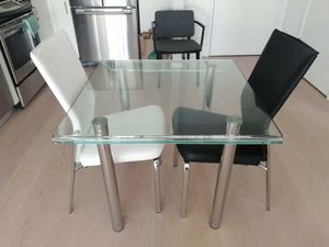 Raymour & Flanigan glass dining table, two recliner chairs for Sale in Philadelphia, PA