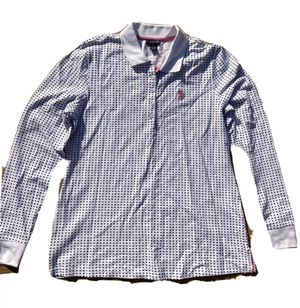 NWT US POLO ASSN. Women's Collared Long Sleeve 1/4 Button Up White/Blue Sz Large for Sale in Rosemead, CA