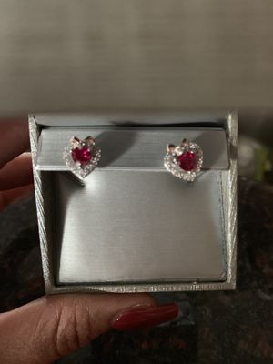 Sapphire Heart with Bow Stud Earrings in Sterling Silver and 14K Rose Gold Plate for Sale in Kissimmee, FL