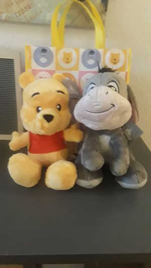 Winnie The Pooh and Eeyore plushies. 12 inches tall. for Sale in Auburndale, FL