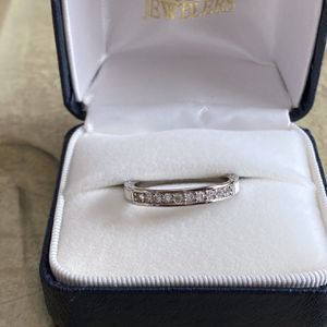 Platinum Filled CZ White Enamel Ring Sz8 for Sale in Arlington, VA