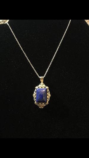 Lapis necklace - 14K yellow gold and platinum over sterling silver for Sale in West Richland, WA