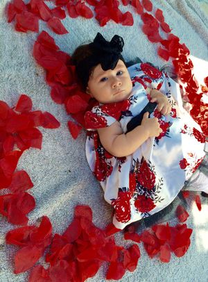 9 m Infant Girl Red Flower Dress with Peek A Boo Tulle for Sale in Bountiful, UT