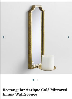 Set of 2 pair of World Market Antiqued Gold Mirrored Emma Wall Sconces Candle Wall Decor for Sale in Phoenix, AZ