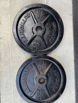 Olympic 2in weight plates-two 45lbs plates for Sale in Houston, TX