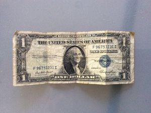 1935-E Circulated Silver Certificate One Dollar Bill blue seal united states banknote currency for Sale in Antioch, CA
