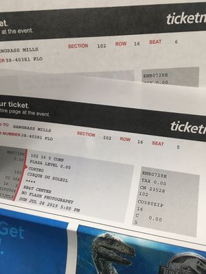 Cirque de Soleil Tickets for Sunday 7.28.19 @5pm for Sale in North Miami, FL