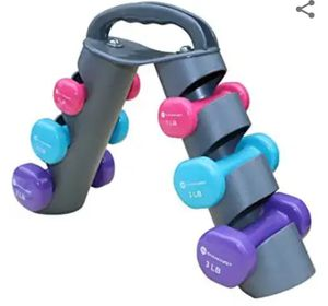 GYMENIST Dumbbell Set of 6 Total Dumbbells with Foldable Rack That Can Stand for Display or Folded for Travel and Storage These Weights for Sale in El Monte, CA