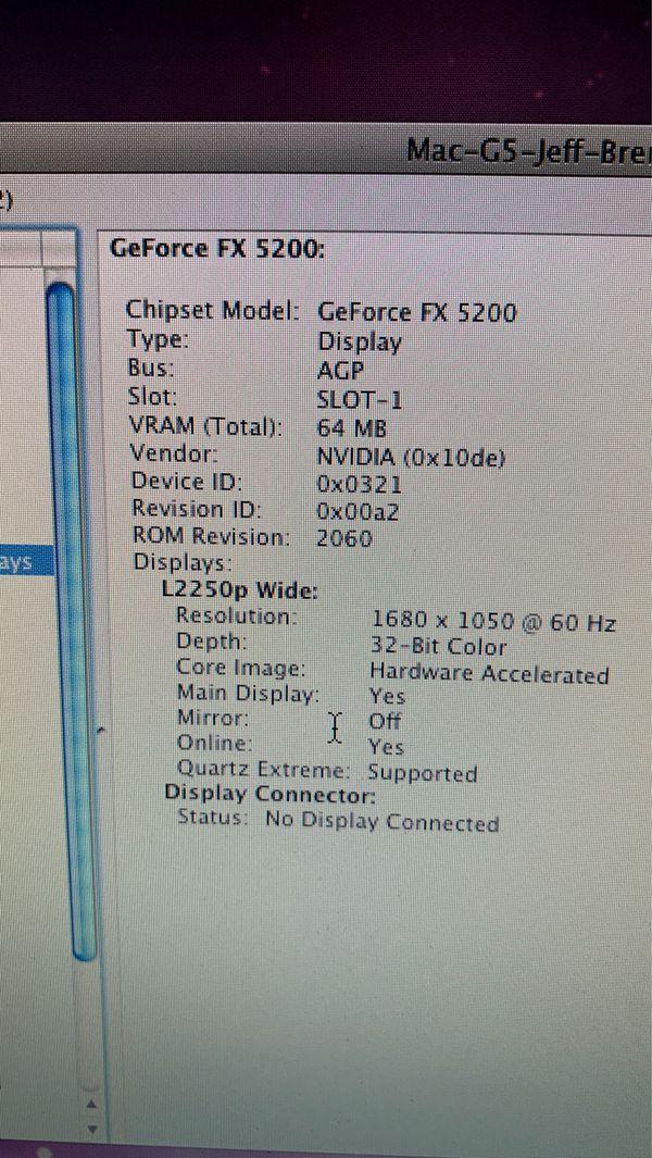 Apple Power Mac G5 1.6GHz 1gb RAM GeForce fx 5200