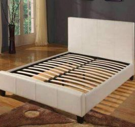 (New In Boxes) Queen Size Ivrory Faux-Leather Bed Frame for Sale in Atlanta,  GA