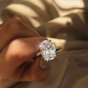 Exquisite Large oval white sapphire wedding engagement ring 925 silver jewelry for Sale in Hollywood, FL