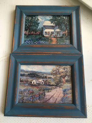 Framed photographs of a house and farm house with windmill and blue bonnets non glare glass for Sale in Dallas, TX