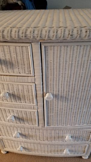 White wicker dresser armoire 21 x 37 x 50 for Sale in Ravensdale, WA