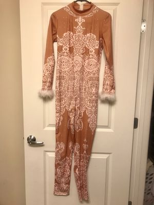 Pink/brown, bodysuit with fur on the wrist for Sale in Fort Washington, MD