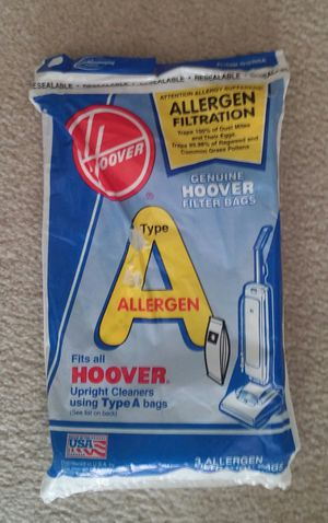 Hoover Vacuum Bag Type A Allergen 3 Pack for Sale in MONTGOMRY VLG, MD