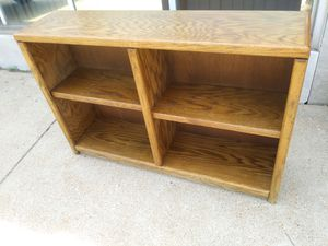 Nice long brown bookcase with adjustable shelves for sale for Sale in St. Louis, MO