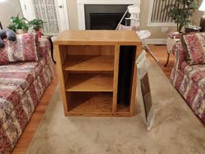 Solid Wood TV Stand, Golden Oak Stain, Smoke Glass Doors for Sale in Boston, MA
