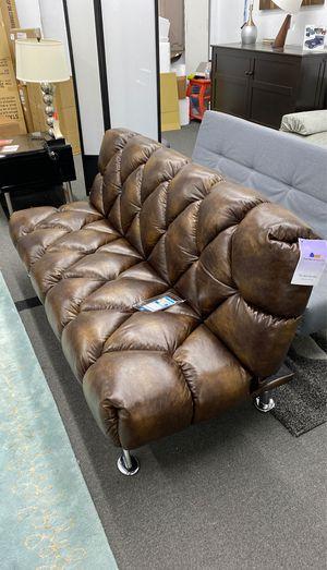 Brown leatherette sleeper sofa futon bed for Sale in Alexandria, VA