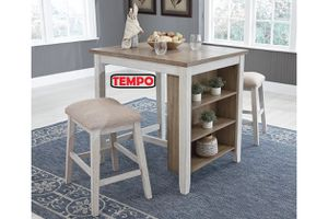NEW IN THE BOX. SKEMPTON COUNTER HEIGHT DINING ROOM TABLE AND BAR STOOLS (SET OF 3), SKU# D394-113BS for Sale in Garden Grove, CA