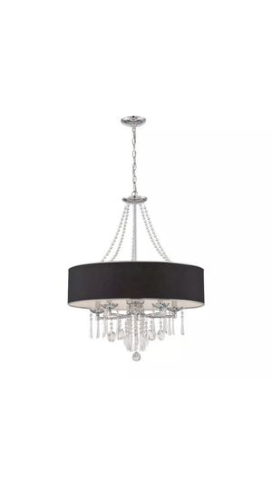 Elton Collection 5-Light Chrome Pendant with Black Shade for Sale in Wahneta, FL
