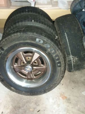 Rally rims off a 1970 Pontiac Lemans on Pirelli tires. for Sale in North Charleston, SC