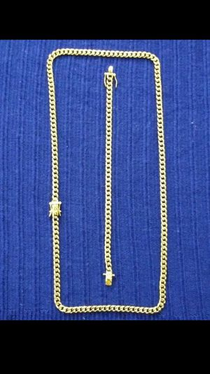 14k gold plated Cuban Link chain and bracelet set...💎🌠🌠🌟 for Sale in Hollywood, FL