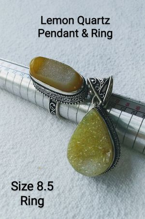 925 Silver LEMON QUARTZ Gemstone Pendant & Ring Size 8.5 $60.00 for Sale in Hollywood, FL